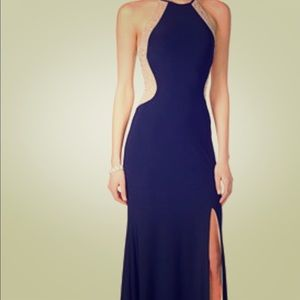 Xscape dazzling illusion halter dress